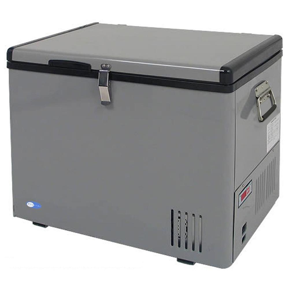 Whynter 1.75 cu. ft. Portable Freezer, Gray This Whynter Portable Fridge / Freezer offers premium quality and innovative design to your frozen/refrigerated needs. This freezer is great for RVs, boats, campsites, fishing trips and is truly portable so you can take your fridge / freezer anywhere! All you need is either a standard household 110 Volt outlet or a 12 Volt power source, like an automotive battery. Whether on a day trip or major expedition, you can easily keep your food and beverages chilled, or frozen with this benchtop freezer. The Whynter portable freezers should not to be confused with less effective 12 volt novelty and beverage type  coolers . The Whynter portable freezer / fridge is a true freezer / refrigerator which cools between -8 degrees F to 50 degrees F. A cost effective and mobile solution for your recreational and critical freezing requirements. Color: Gray.