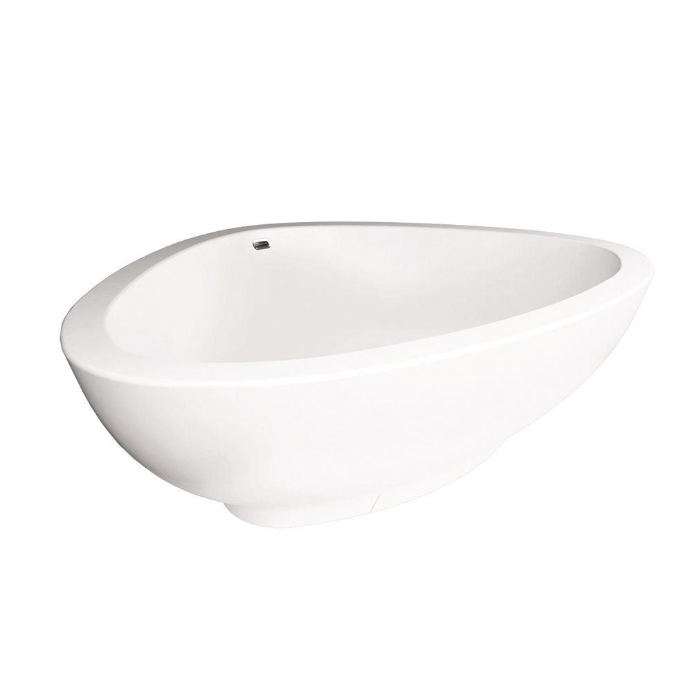 Axor Massaud 6 ft. Flatbottom Center Drain Bathtub in White