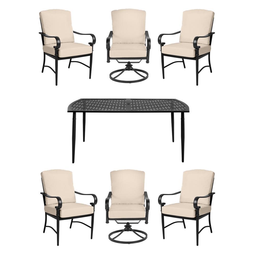 Oak Cliff Brown 7-Piece Steel Outdoor Patio Dining Set w/4 Stationary & 2 Swivel Chairs & Sunbrella Beige Tan Cushions