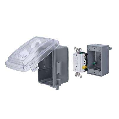 1-Gang GFCI Weatherproof Non-Metallic Electrical Box Cover Kit