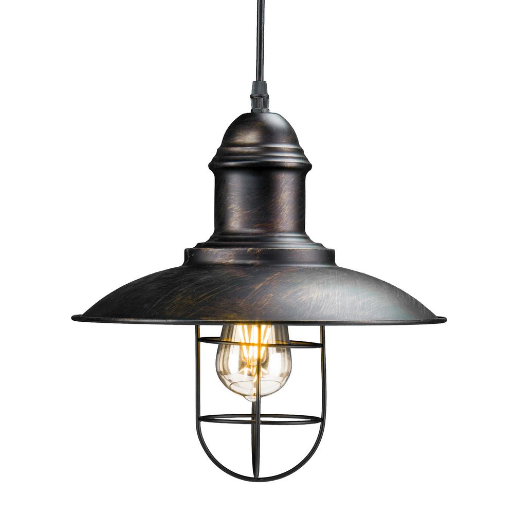 Wire Cage Pendant Light | Tesino 1 Light Black Industrial Cage Pendant Lamp Hd88166 The Home
