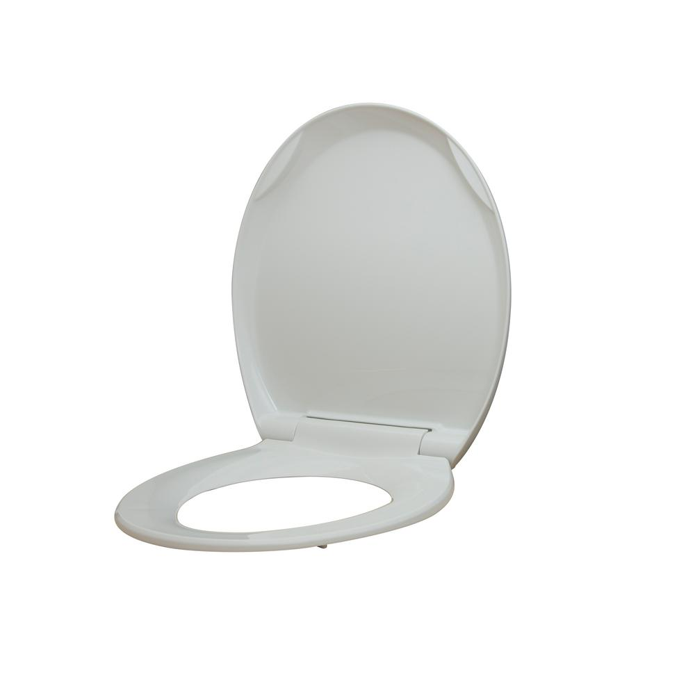 Miraculous Glacier Bay Round Slow Closed Front Toilet Seat With Quick Release Hinges In White Evergreenethics Interior Chair Design Evergreenethicsorg