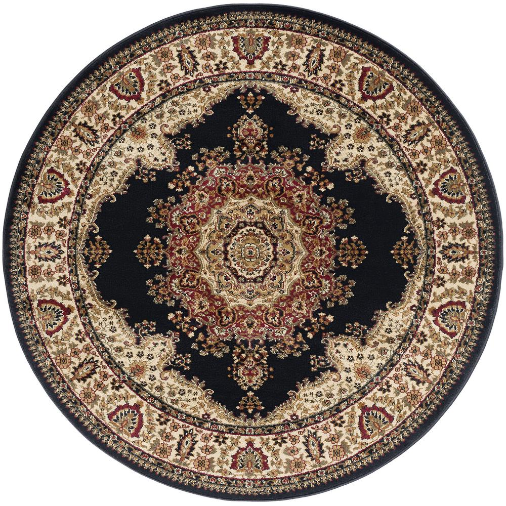 Tayse Rugs Sensation Black 5 Ft Traditional Round Area Rug Sns4703