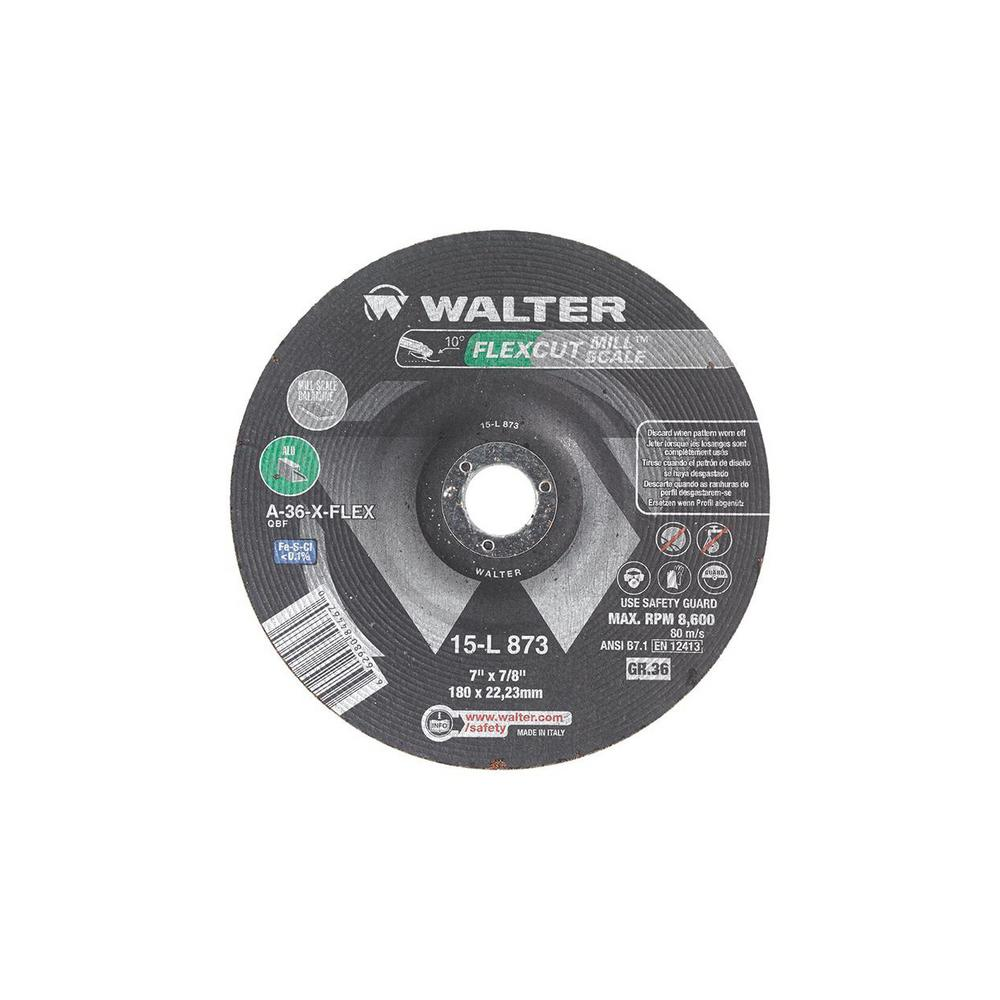 WALTER SURFACE TECHNOLOGIES Flexcut 7 in  x7/8 in  Arbor GR36 Flexible  Grinding Wheel for Mill Scale (25-Pack)