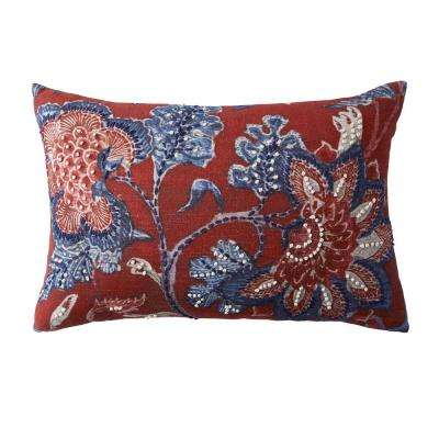 Embroidered Decorative Pillow Cover in Multi Embroidered Flower, 16 in. x 24 in.