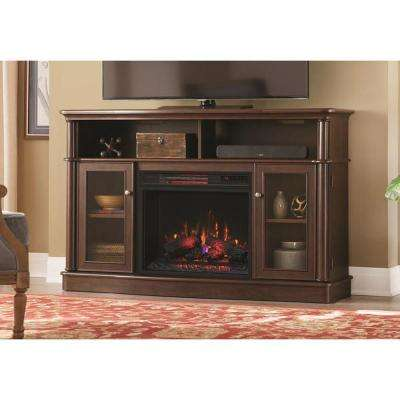 Tolleson 56 in. TV Stand Infrared Bow Front Electric Fireplace in Simply Brown