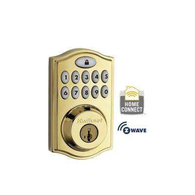 Z-Wave SmartCode 914 Lifetime Polished Brass Single Cylinder Electronic Deadbolt featuring SmartKey