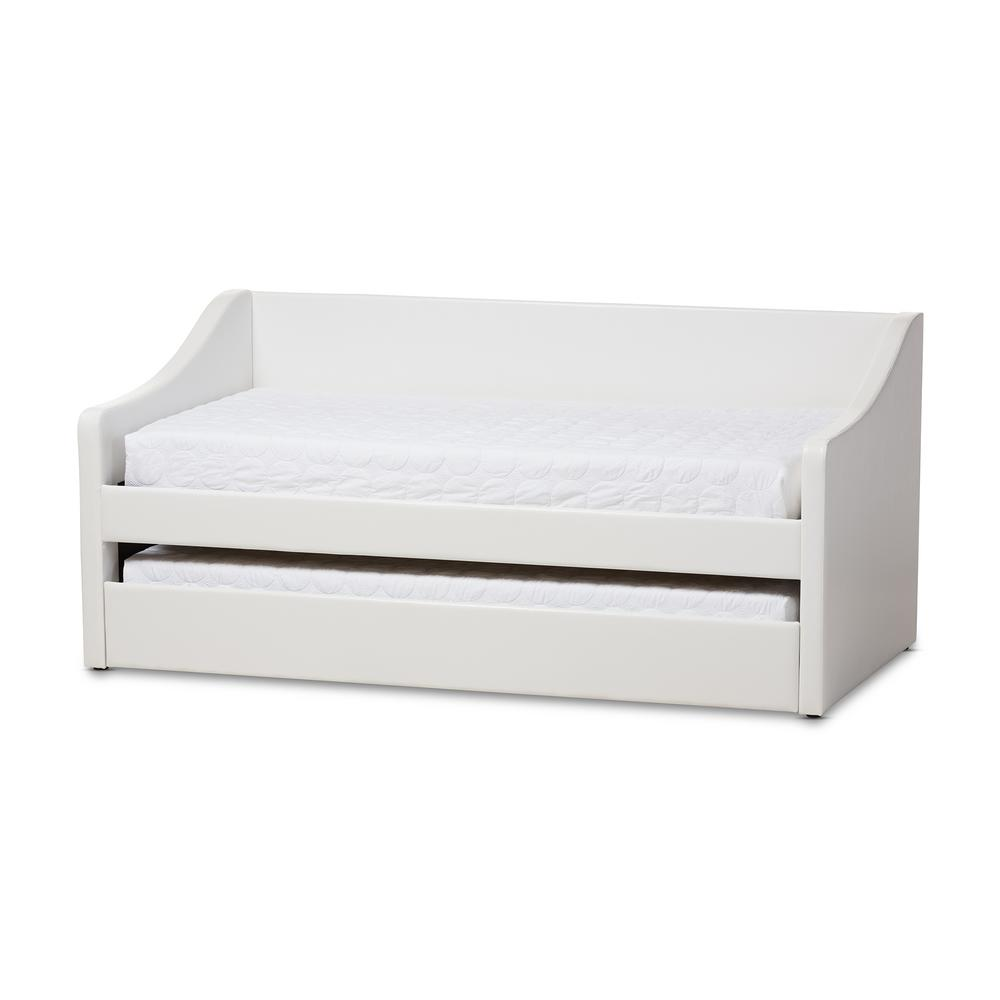 Barnstorm Contemporary White Faux Leather Upholstered Twin Size Daybed