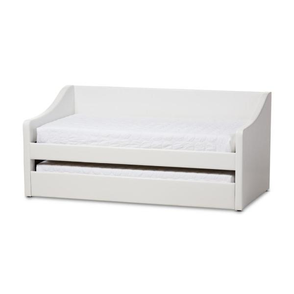 Baxton Studio Barnstorm Contemporary White Faux Leather Upholstered Twin Size