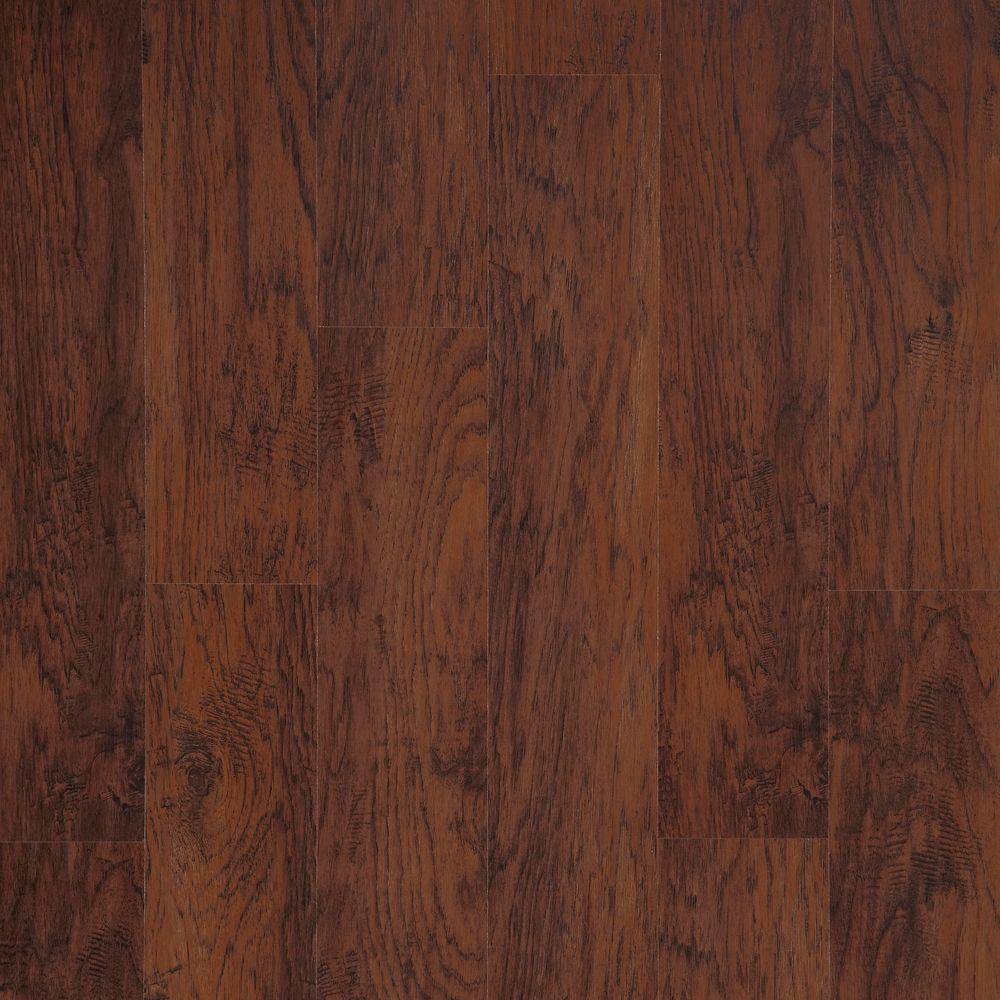 Trafficmaster dark brown hickory 7 mm thick x 8 1 32 in for Laminate floor panels