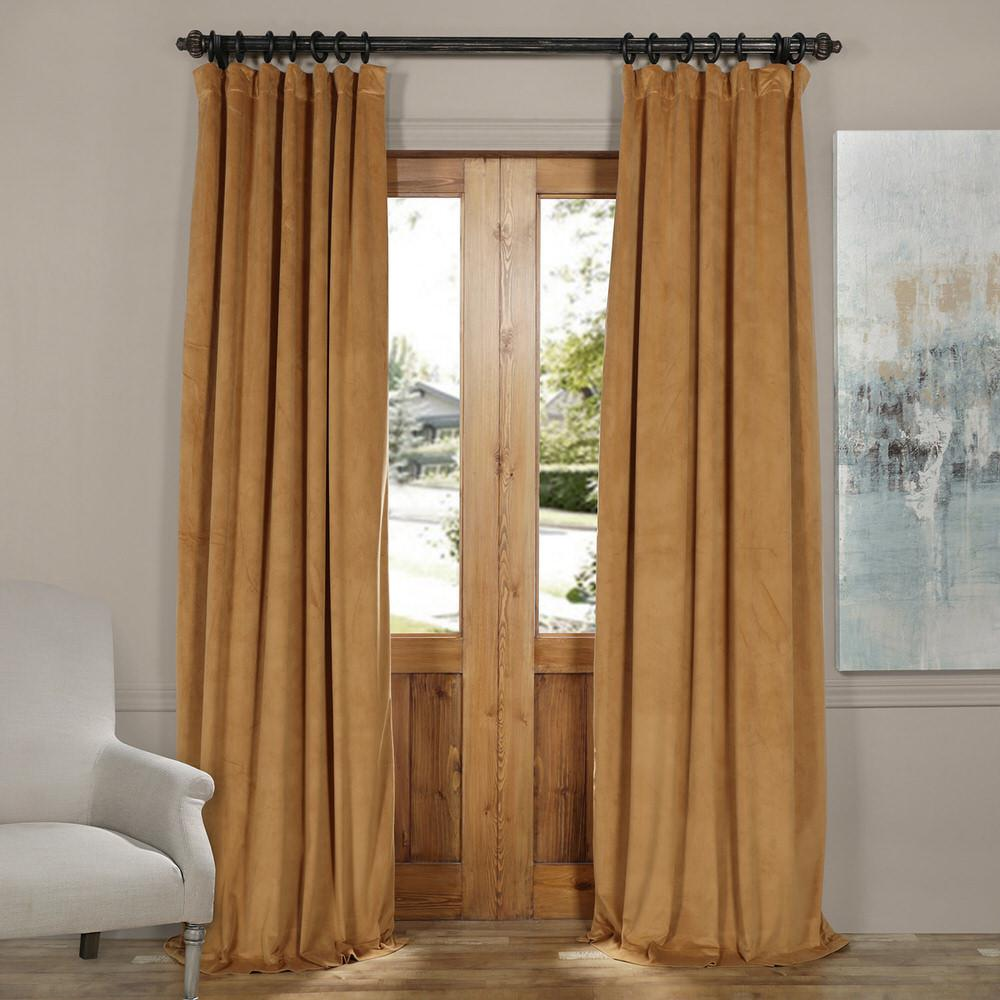 Exclusive Fabrics & Furnishings Blackout Signature Amber Gold Blackout Velvet Curtain - 50 in. W x 84 in. L (1 Panel)