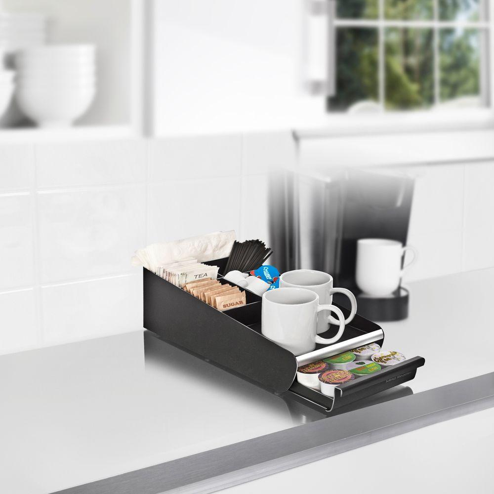 Vesta Coffee 18-Capacity Condiment Organizer with K-Cup Storage Drawer