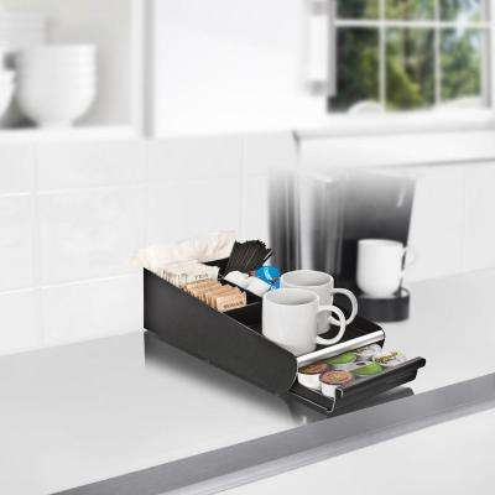 Vesta Coffee Condiment Organizer with Coffee Pod Drawer