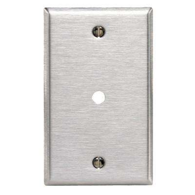 1-Gang Standard Size Box Mount Wall Plate 0.312 in. Dia Phone/Cable Opening, Stainless Steel