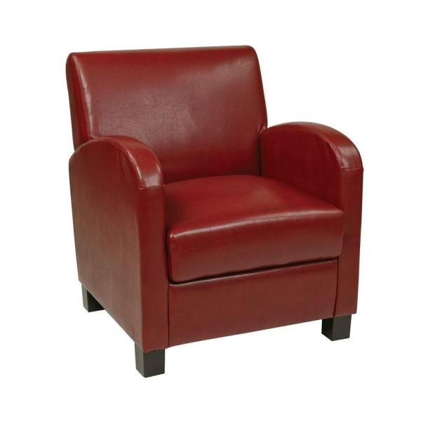 OSP Home Furnishings Crimson Red Eco Leather Club Arm Chair MET807RRD