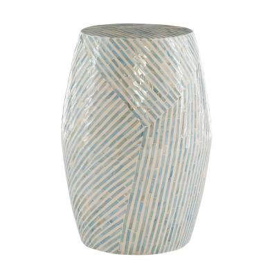 Jaynie Ivory Mosaic Capiz Drum Table 19.75 in. Tall