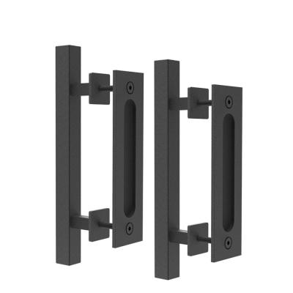 12 in. Black Square Pull and Flush Sliding Barn Door Handle Set (2-Pack)