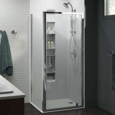 Aerie 35.8125 in. x 75 in. Frameless Corner Pivot Shower Door in Bright Polished Silver