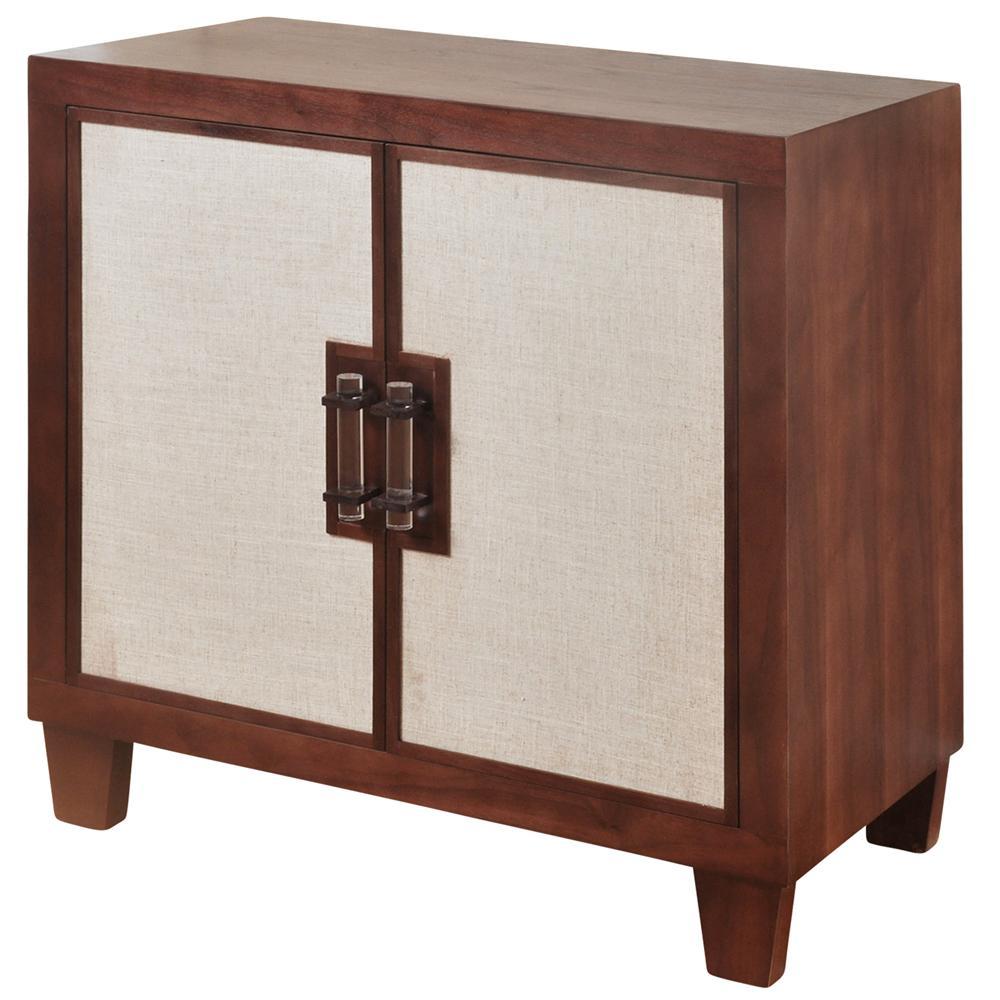 2-Door Natural Walnut Beige Linen Doors Linen Door Cabinet