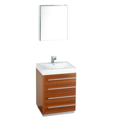 Livello 24 in. Vanity in Teak with Acrylic Vanity Top in White with White Basin and Medicine Cabinet