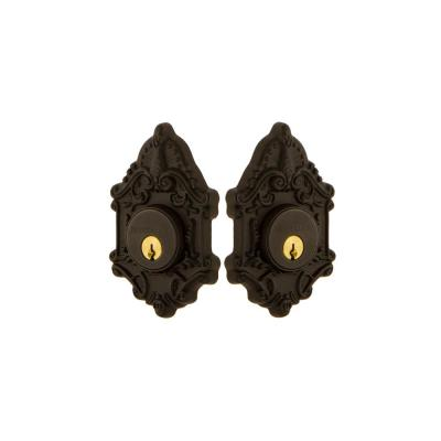 Victorian Plate 2-3/8 in. Backset Double Cylinder Deadbolt in Oil-Rubbed Bronze