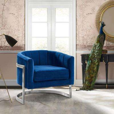 Kamila Blue Velvet and Brushed Stainless Steel Contemporary Accent Chair