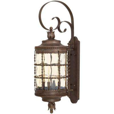 Mallorca 4-Light Vintage Rust Powder Coat Outdoor Wall Lantern Sconce
