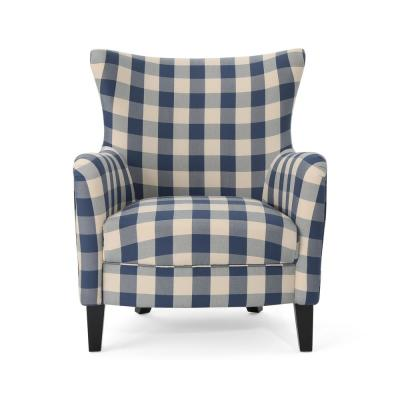 Arabella Farmhouse Blue Checkerboard Fabric Armchair