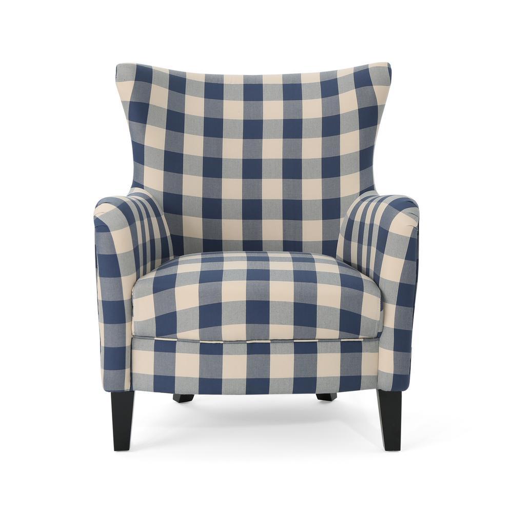 Arabella Farmhouse Blue Checkerboard Fabric Armchair