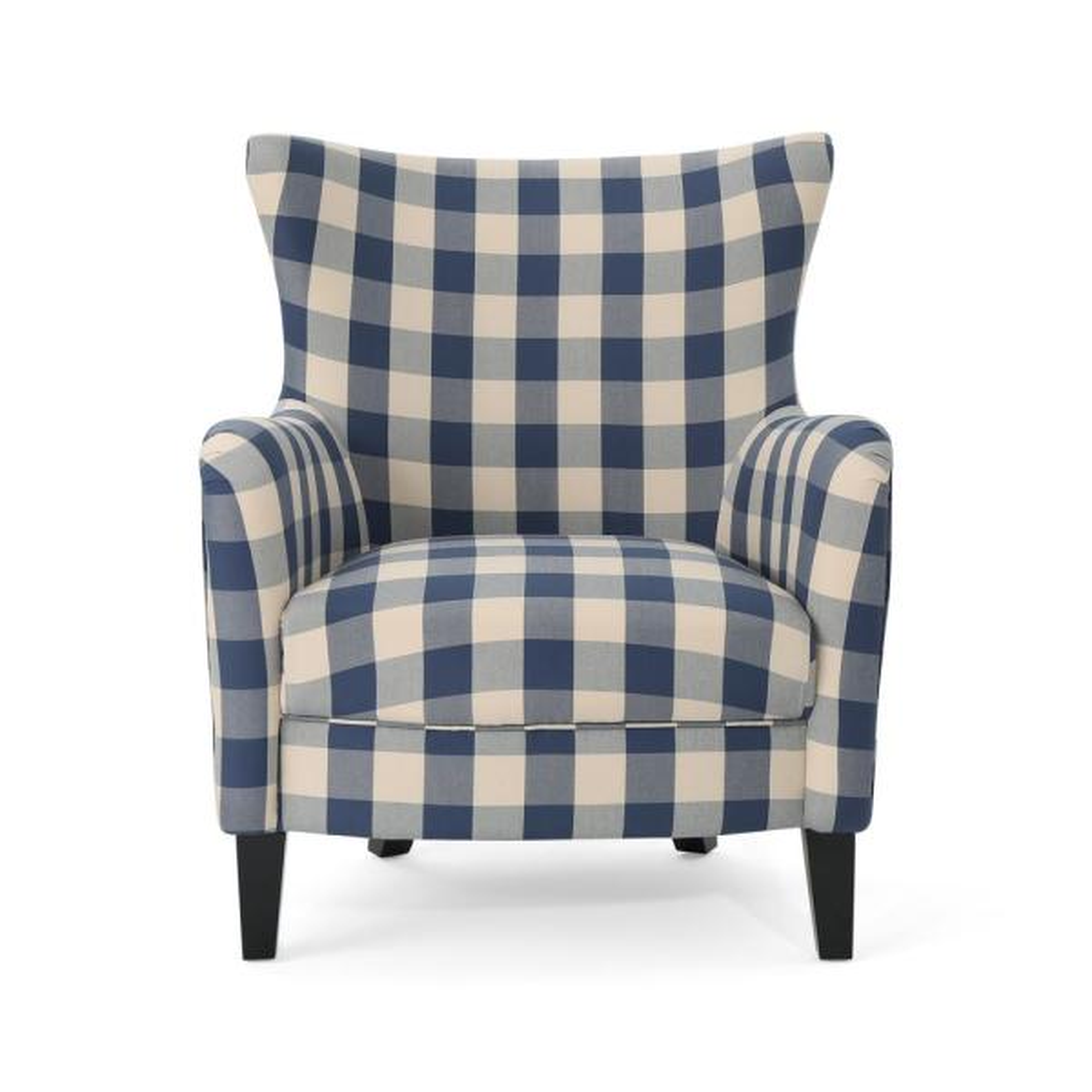 Noble House Arabella Farmhouse Blue Checkerboard Fabric Armchair