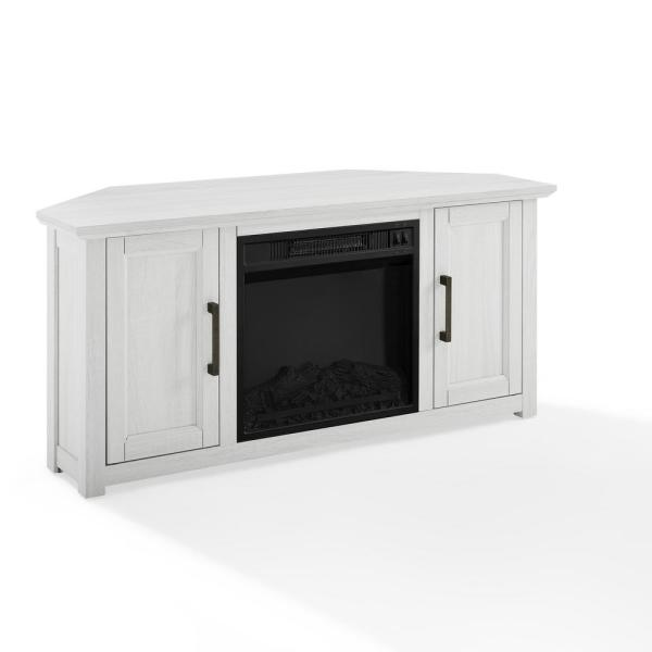 Crosley Furniture Camden Whitewash 48 In Corner Tv Stand With Fireplace Fits 50 In Tv With Cable Management Kf100648ww The Home Depot