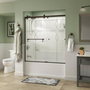 Portman 60 x 58-3/4 in. Frameless Contemporary Sliding Bathtub Door in Bronze with Tranquility Glass