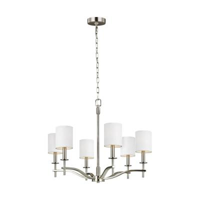Sea Gull Lighting Hewitt 6-Light Satin Nickel Chandelier with White Lined Parchment Shades