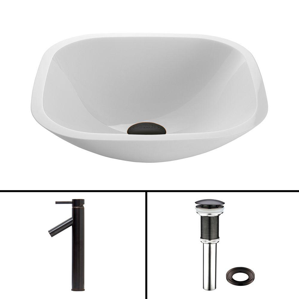 Glass Vessel Sink in Square Shaped White Phoenix Stone and Dior