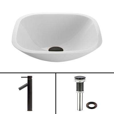 Square White Phoenix Stone Vessel Bathroom Sink and Dior Faucet Set in Antique Rubbed Bronze