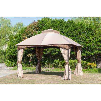Turnberry 10 ft. x 12 ft. Gazebo with Mosquito Netting and Private Curtain