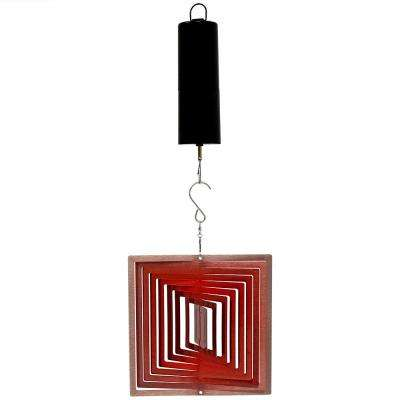 6 in. Red Square 3D Ruby Wind Spinner with Battery-Operated Motor