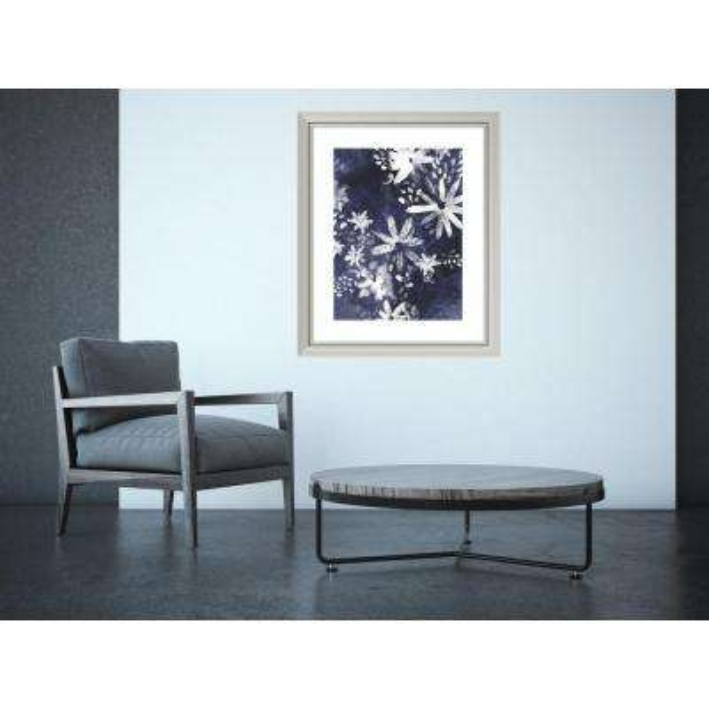 "28 in. W x 34 in. H ""Indigo Floral Gesture II"" by June Vess Framed Art Print"