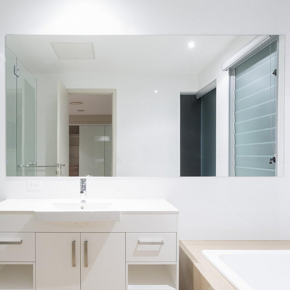 Rectangle Beveled Polish Frameless Wall Mirror With Hooks