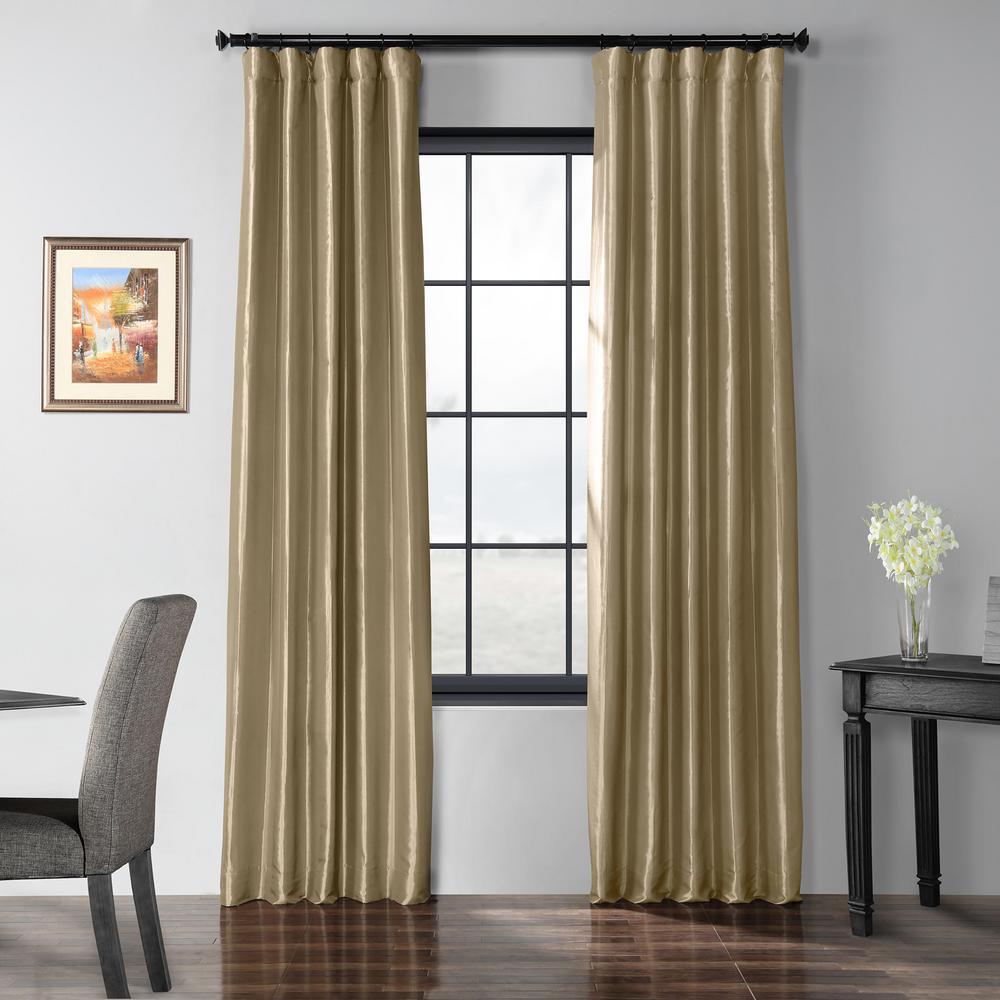 Tuscan Tan Blackout Faux Silk Taffeta Curtain - 50 in. W x 120 in. L