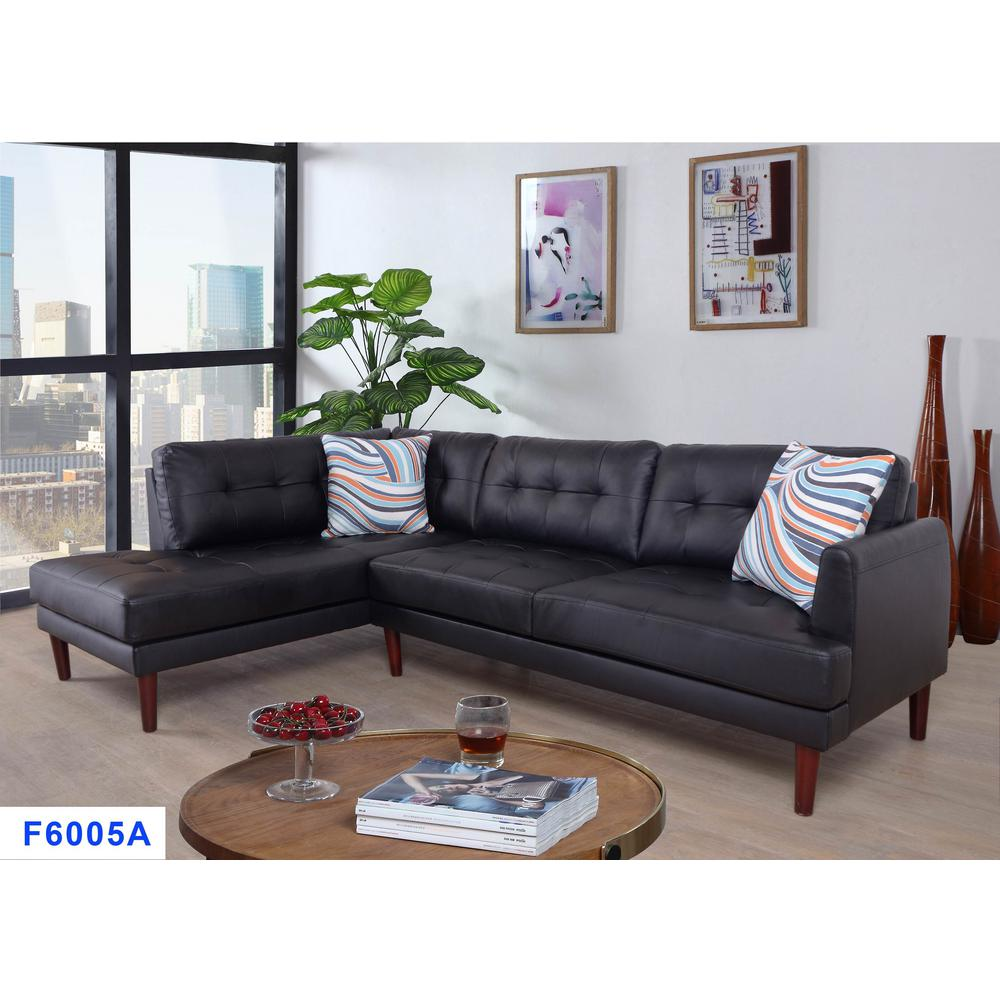 2-Piece Black Faux Leather Left Sectional Sofa Set