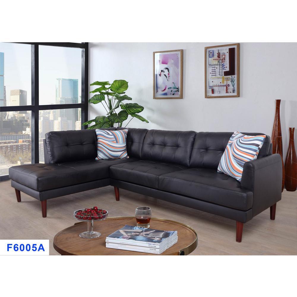 2 Piece Black Faux Leather Left Sectional Sofa Set