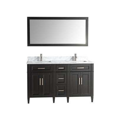 Savona 60 in. W x 22 in. D x 36 in. H Bath Vanity in Espresso with Vanity Top in White with White Basin and Mirror