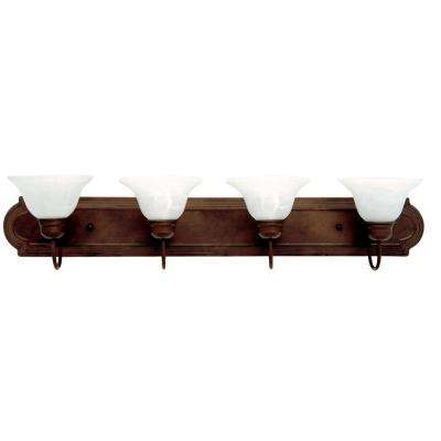 4-Light Dark Brown Frame Incandescent Bathroom Vanity with Alabaster Shades