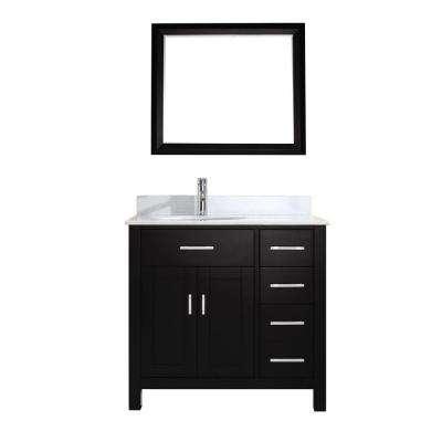 Kalize 36 in. Vanity in Espresso with Solid Surface Marble Vanity Top in Carrara White and Mirror