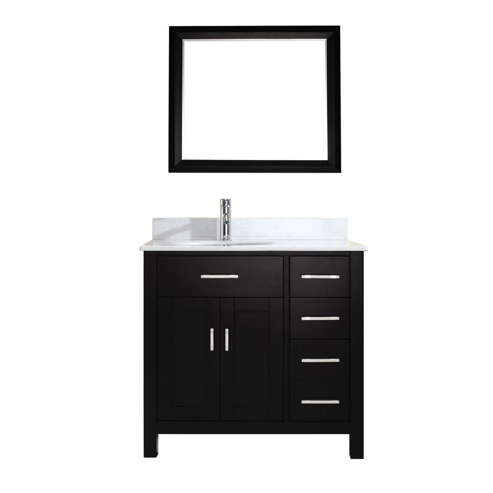 Kalize 36 in. Vanity in Espresso with Solid Surface Marble Vanity