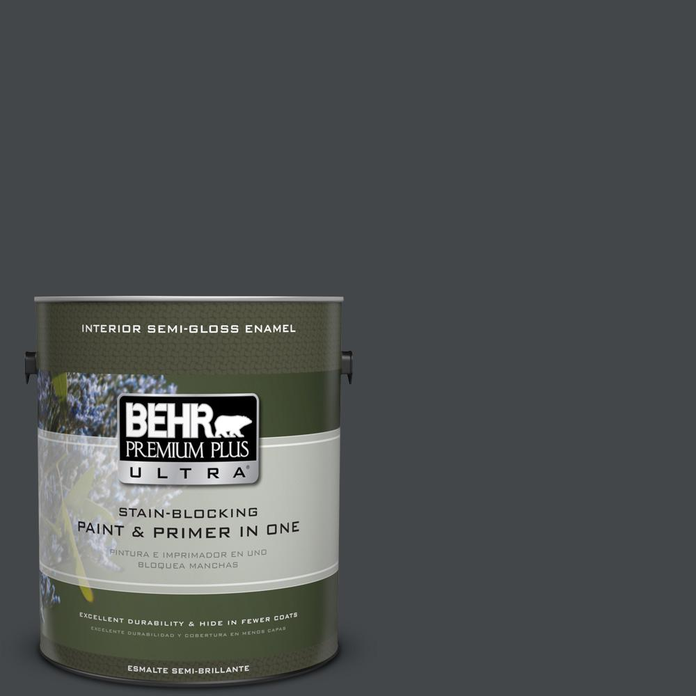 1 gal. #PPU24-23 Little Black Dress Semi-Gloss Enamel Interior Paint