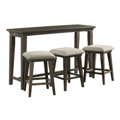 Steele 4-Piece Smokey Walnut Bar Table Set
