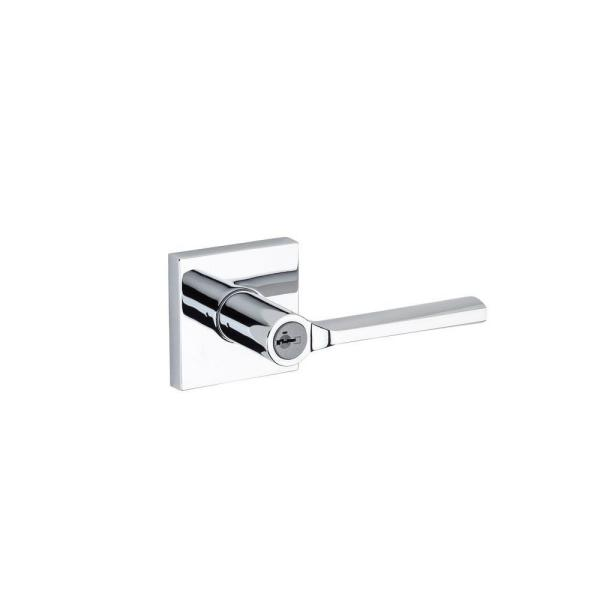 Lisbon Polished Chrome Square Keyed Entry Door Lever Featuring SmartKey Security