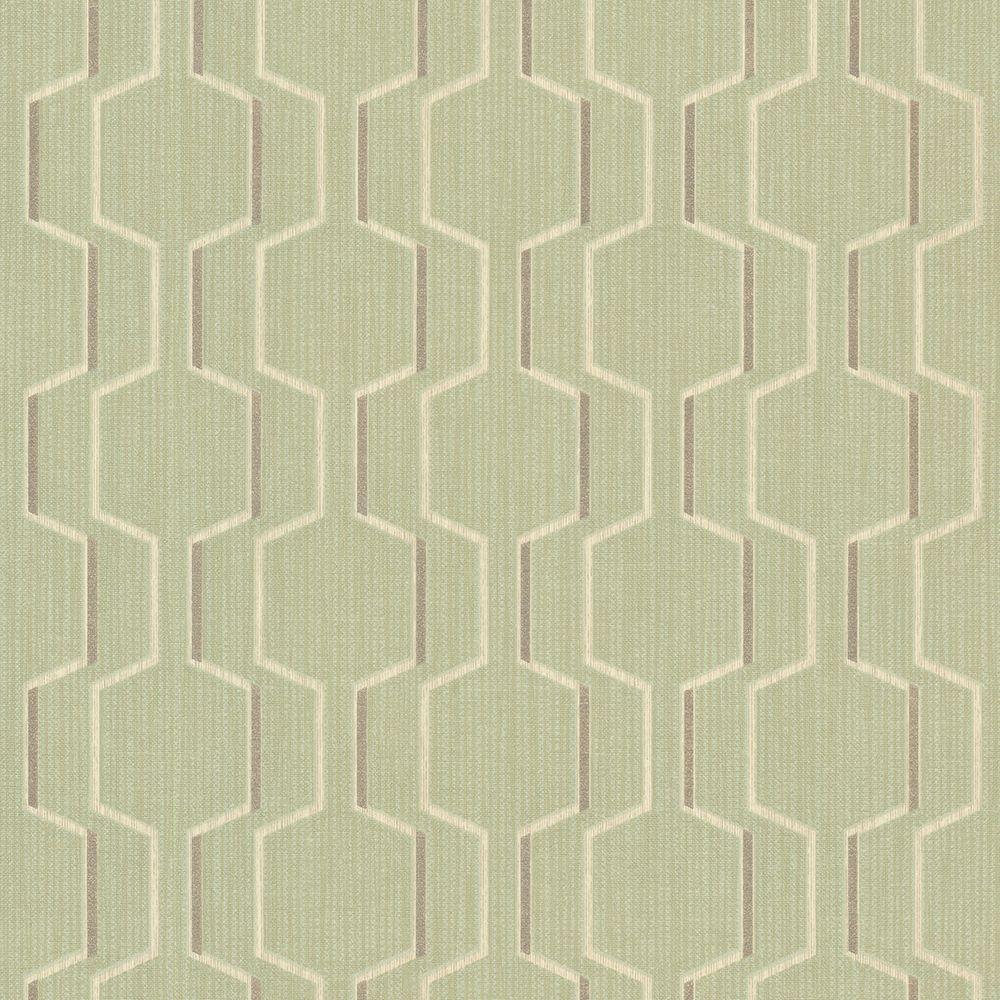 Brewster Krissy Green Geometric Wallpaper Sample 2686-20925SAM